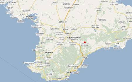 Карта Крыма. Красные пещеры.